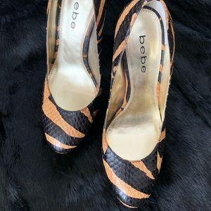 Women's snake skin zebra print platform shoes